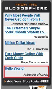 Blogrush Hello World Syndicated Post