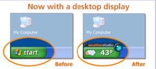 Start Button Weather Widget for Windows XP