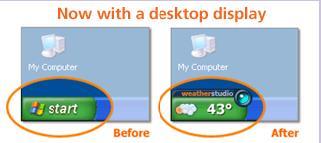 Start Button Weather Widget for Windows XP