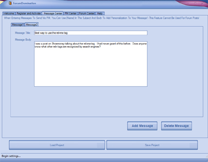 Web Traffic Machines Forum Dominator Create a Message Screenshot