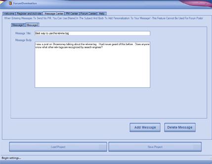 Web Traffic Machines Forum Dominator Create a Message Screenshot