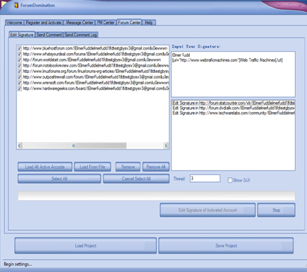 Web Traffic Machines Forum Dominator Signature Editor Screenshot