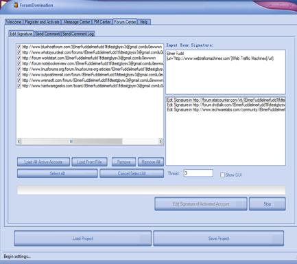 Web Traffic Machines Forum Dominator Signature Editor Screenshot