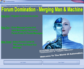 Web Traffic Machines Forum Dominator Welcome Screen